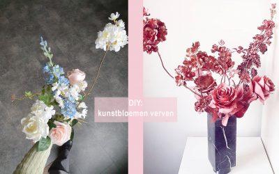 DIY: kunstbloemen verven in één kleur met een spuitbus