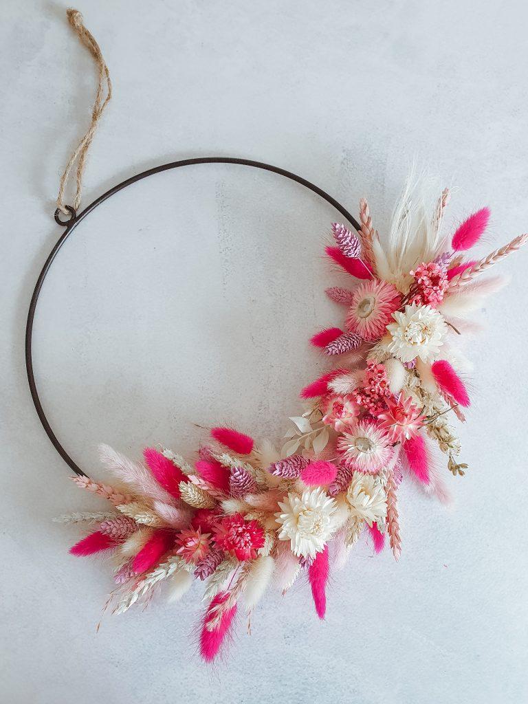 droogbloemen krans roze